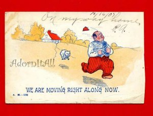 Vintage Postcard � Moving Along Comic c1907 - 842
