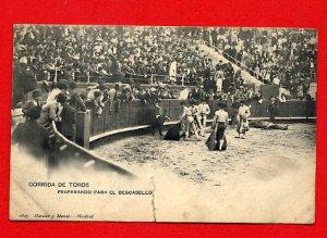 Vintage Postcard - Madrid bull fight - matadors & dead horse 430