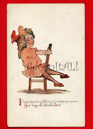 Vintage Post Card - VALENTINE pretty girl by Gibson Art 957