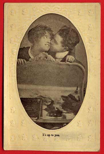 Vintage Postcard - Shy kissing lovers photo Valentine card 580