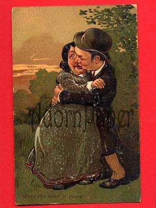 Vintage Postcard - Middle  age Lovers kissing - comic card L51
