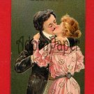 Vintage Postcard - Victorian style lovers KISS! c1908  L56