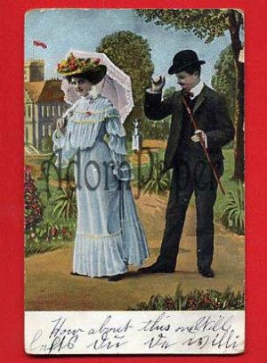 Vintage Postcard - Victorian style lovers - He tips hat at beautiful woman  L55