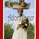 Vintage Postcard - Black Bermuda woman with TURKEYS on her head in basket B59