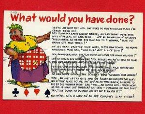 Vintage comic Postcard - Black Americana - woman hears sexy card talk!  B62