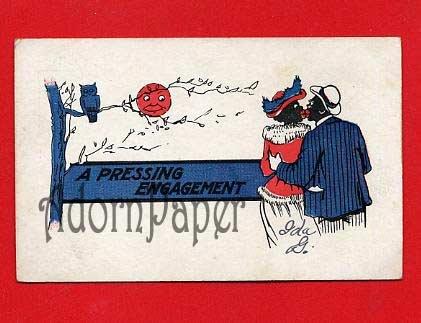 Vintage Postcard - Black Americana - Couple kissing under moon B64