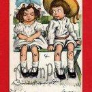 Vintage Postcard - Katharine Gassaway's Rotograph Co - 2 kids on bench A57
