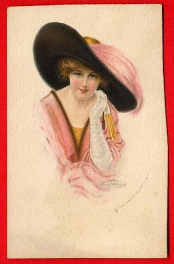Vintage Postcard - artist - Fred Manning - Pretty Lady in huge hat  746
