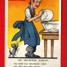 Vintage Comic Postcard - Hen pecked husband washing dishes  222