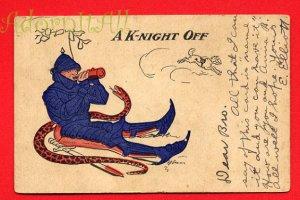 Vintage Comic Postcard - circa 1910 A K-night off (a pun) 213
