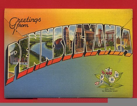 Vintage Postcard - Pennsylvania PA - souvenir folder of 18 view scenes 442
