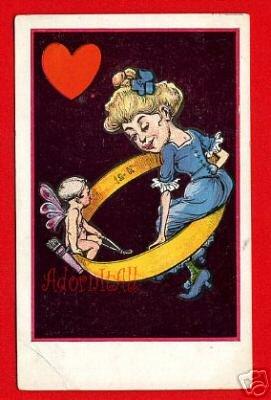 Vintage Comic Postcard - Cupid Angel & Valentine wedding band 122