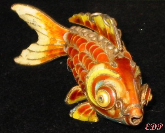 "3"" Champleve Enamel Articulated Fish Koi Charm Pendant"