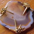 Marcel Boucher Banded AGATE Geode Brooch Pin Signed