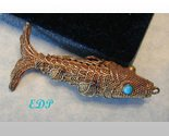 "2"" Filigree Ornate Fish Koi Charm Pendant Moves Silver"