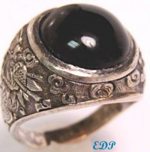Chinese Mandarin Silver UNISEX Agate Ring Sz 10 Dragon