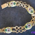 Vintage Micro Mosaic Floral BRACELET Box Clasp Hearts