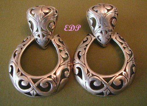 Italian Sterling Reticulated Doorknocker Earrings Italy