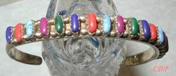 Native American Sterling Colored Stones Cuff Bracelet