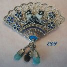 Chinese Enamel FAN Pin Filigree Sterling BIRDS Gems Dangles