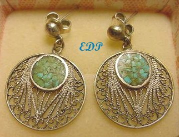Italian Sterling Turquoise Mosaic Filigree Earrings