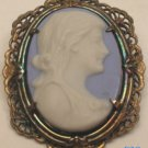 EN JAY 14kt + Sterling Filigree Jasperware Cameo Pin