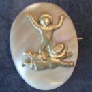 19c Mother of Pearl and Brass Pin Brooch w Children