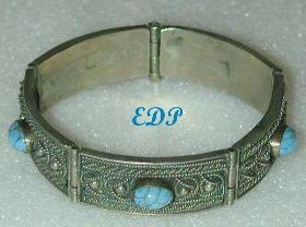 ETRUSCAN Silver Turquoise Hinged Bracelet Filigree