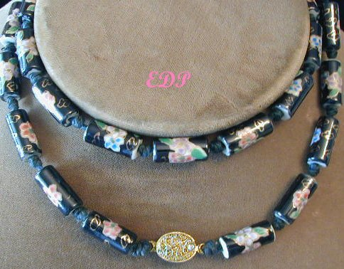 Cloisonne Porcelain Beads Necklace Filigree Clasp Bead