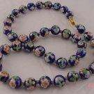 Cloisonne Beads Necklace Enamel Floral Filigree Clasp