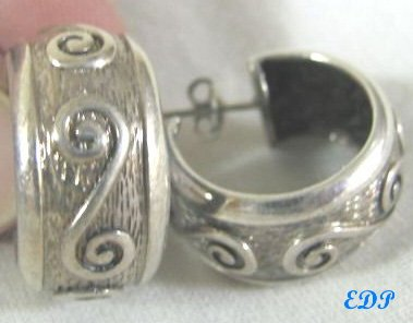 Sterling Hoop Earrings Heavy Ornate Wide Italy Italian