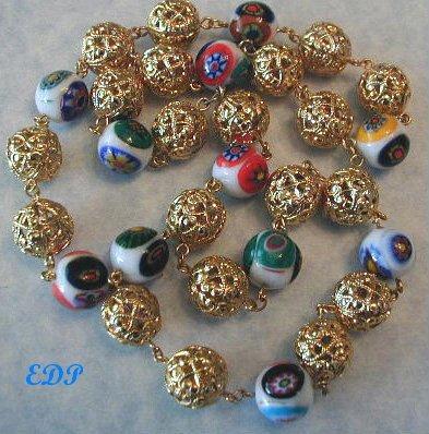 Filigree Balls and Murano Glass Millefiori Necklace