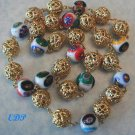 Filigree Balls and Murano Glass Millefiori Necklace