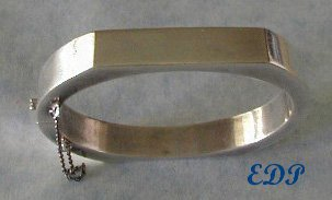 Sterling Modernist Hinged Bangle Bracelet Italy