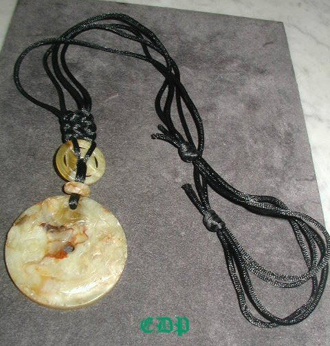 Carved JADE Necklace Ornate Black Silk Cord 3 Pc