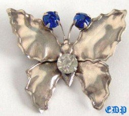 Sterling Butterfly Brooch Pin w Rhinestones