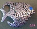 Sterling Reticulated Designer FISH Brooch Pin Gemstone