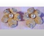 Marcel Boucher Clip Earrings Gold Rhinestones Pearls