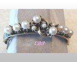 Florenza Gold Tone Faux Pearl Bangle Bracelet Designer