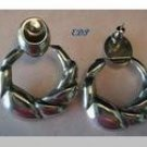 Italian Sterling Modernist Doorknocker Earrings Italy
