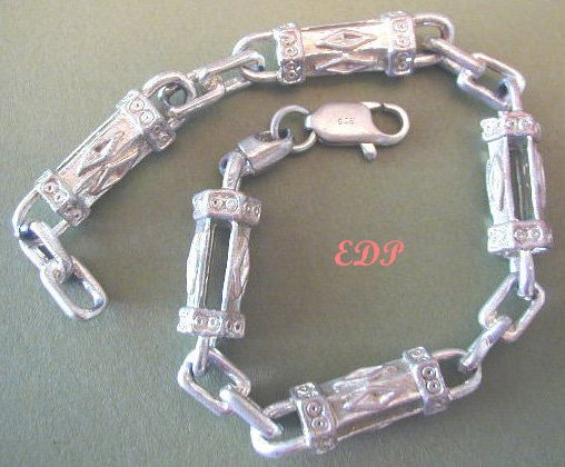 Italian STERLING Unisex Etruscan Link HEAVY BRACELET