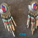 Native American Navajo Sterling Mosaic Gem Earrings