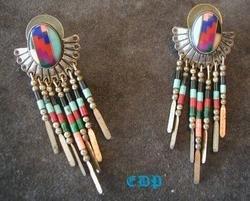 Native American Navajo Sterling Mosaic Gem Earrings