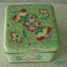 Green Champleve Enamel Oriental Box Asian Hand Painted