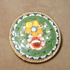 Antique Micro MOSAIC Floral Pin Brooch Italy Florals