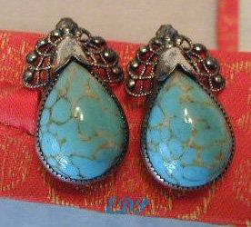 Sterling Turquoise Screwback Earrings Danecraft Vintage
