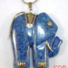 Lapis Sterling Elephant Charm Pendant Necklace Large