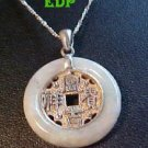 Jade Sterling Chinese Coin Necklace Asian Oriental