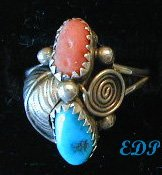 Native American Sterling Coral Turquoise Ring Sz 8