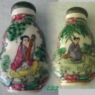Famille Rose Chinese Snuff Bottle Lady Man Music Jade